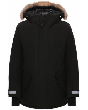 Куртка с капюшоном черная с опушкой Canada Goose