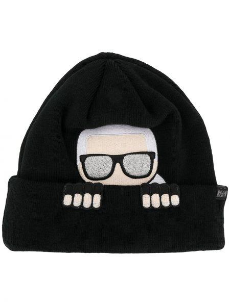 Акриловая черная шапка бини с вышивкой без застежки Karl Lagerfeld