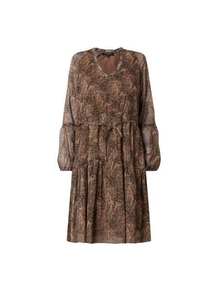 Sukienka rozkloszowana z falbanami - brązowa Ilse Jacobsen