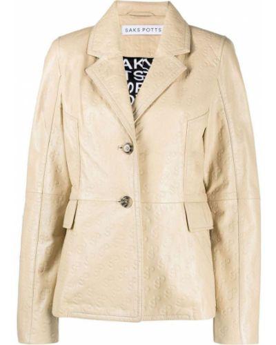 Кожаная куртка с воротником с карманами Saks Potts