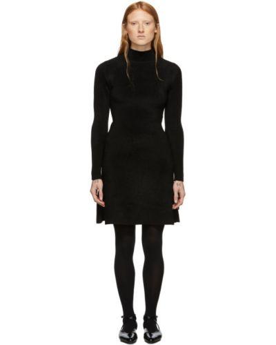 Czarny sukienka mini z kołnierzem z wiskozy z długimi rękawami Balenciaga