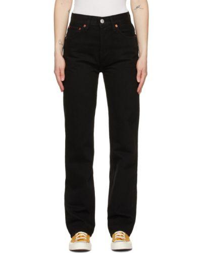 Skórzany czarny jeansy z łatami Re/done