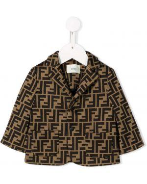 Коричневый классический пиджак с воротником на пуговицах Fendi Kids