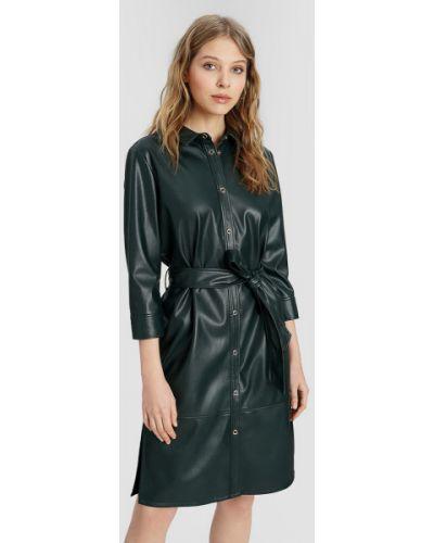Кожаное с рукавами зеленое платье макси Ostin