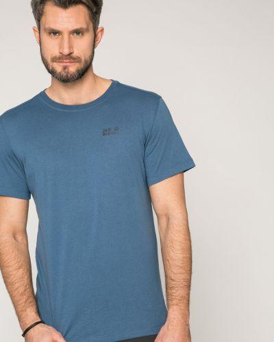 Синяя футболка однотонная Jack Wolfskin