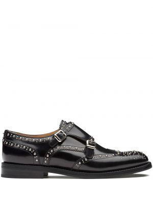Z paskiem czarny buty brogsy z prawdziwej skóry niskie obcasy Churchs
