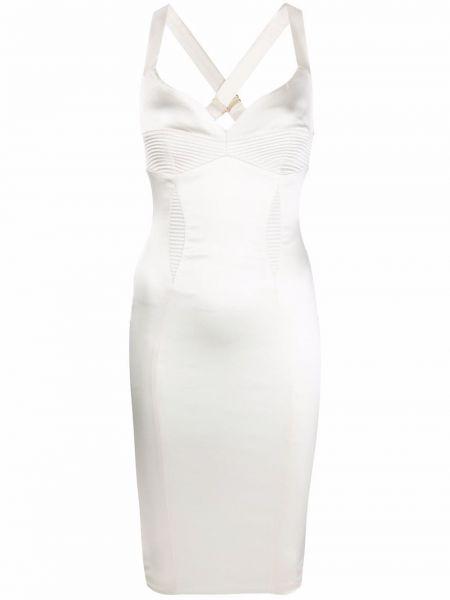 Biała sukienka midi bez rękawów pikowana Murmur