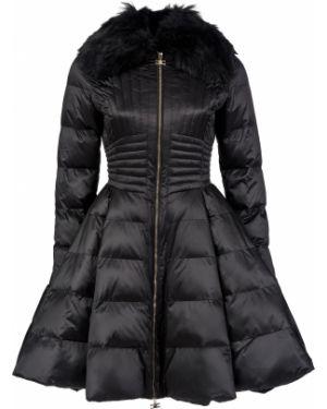 Черное пальто с капюшоном Elisabetta Franchi