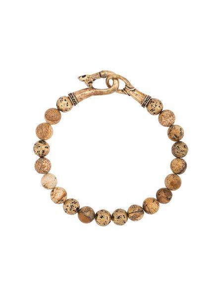 Brązowa złota bransoletka ze złota z haftem John Varvatos