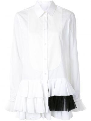 Белая классическая рубашка с оборками с воротником на пуговицах Viktor & Rolf