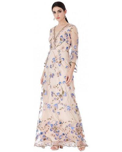 Свободное бежевое вечернее платье с пайетками Goddiva
