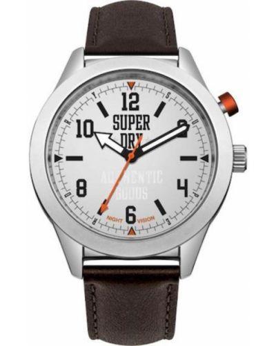 Szary zegarek na skórzanym pasku skórzany kwarc Superdry