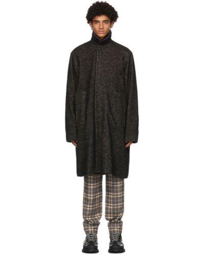 Черное шерстяное длинное пальто с воротником с манжетами Schnaydermans