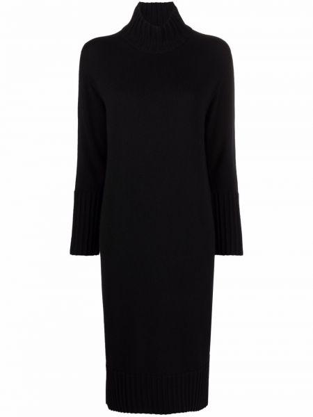 Черное платье макси с длинными рукавами Antonelli