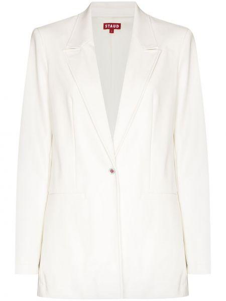 Кожаный белый пиджак Staud