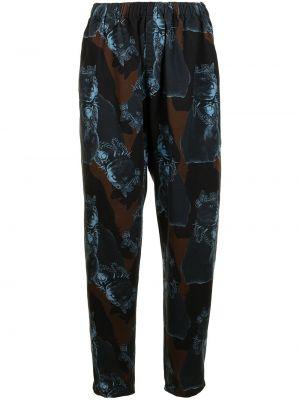Хлопковые зауженные черные спортивные брюки Undercover