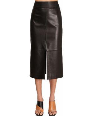 Czarna spódnica ołówkowa skórzana z wysokim stanem Givenchy