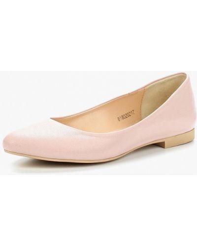 Розовые кожаные балетки Shoiberg