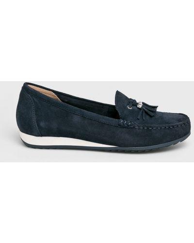 Темно-синие кожаные мокасины Caprice