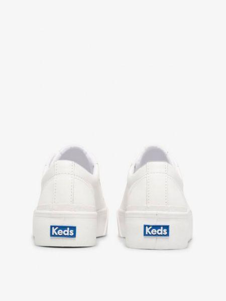 Кожаные белые низкие кеды на платформе Keds