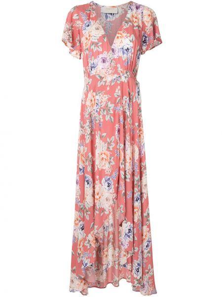 Однобортное розовое платье с V-образным вырезом на молнии Auguste