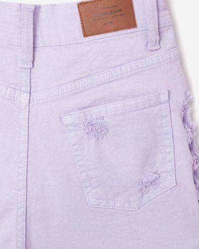 Фиолетовые джинсовые шорты с карманами с бахромой Gloria Jeans