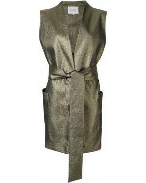 Пальто с воротником золотое без рукавов Layeur