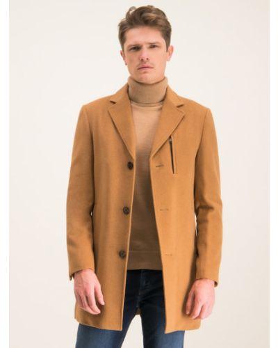 Płaszcz wełniany - brązowy Digel