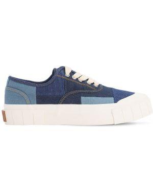 Синие текстильные кроссовки на шнуровке пэчворк Good News