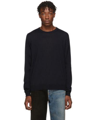 Czarny długi sweter wełniany z długimi rękawami Balenciaga