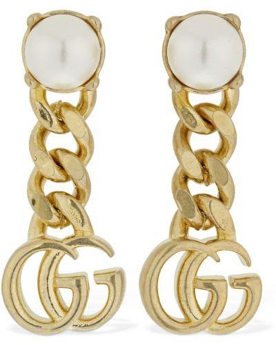 Kolczyki ze sztyftem złoto z perłami Gucci