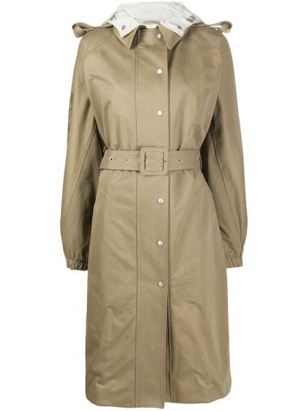 Пальто с капюшоном длинное бежевое Courrèges
