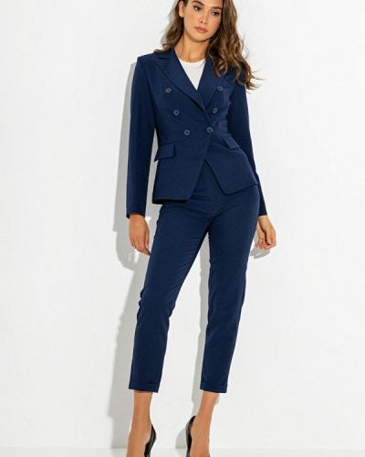 Синий костюмный брючный костюм Itelle