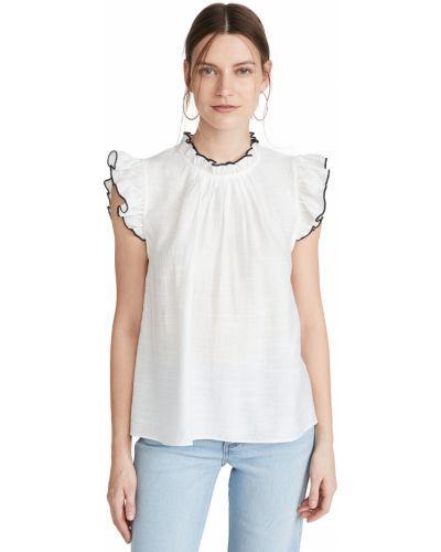 Текстильная белая блузка с декольте English Factory