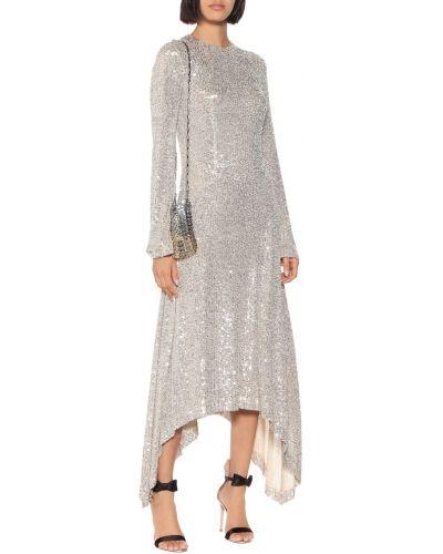 Серебряное платье миди с пайетками для танцев Galvan