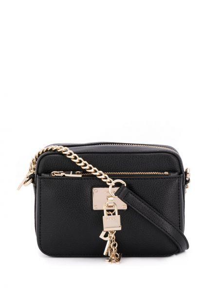 Золотистая черная сумка на цепочке на молнии с карманами Dkny