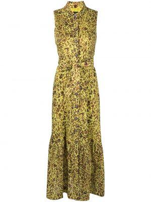 Зеленое платье миди без рукавов с воротником Pinko