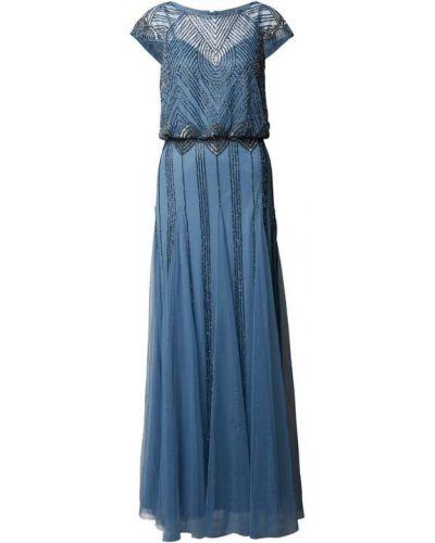 Niebieska sukienka wieczorowa z cekinami Lace & Beads