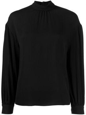 Шелковая черная прямая блузка с длинным рукавом на пуговицах Vince.