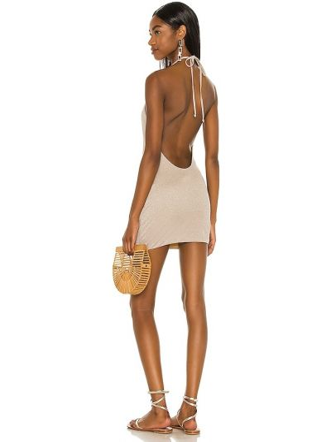 Трикотажное платье мини золотое с подкладкой Lovewave