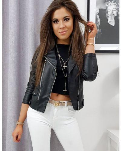 Czarna kurtka jeansowa skórzana Dstreet