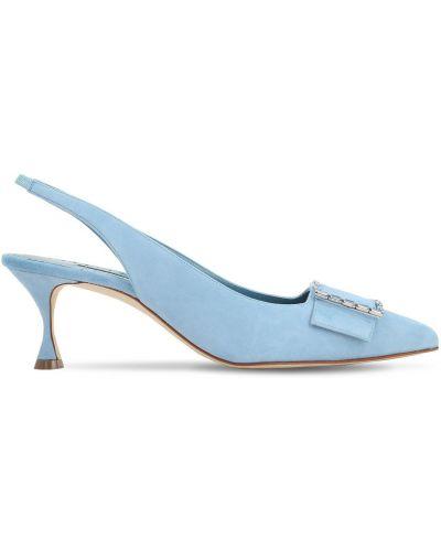 Туфли на каблуке замшевые с пряжкой Manolo Blahnik