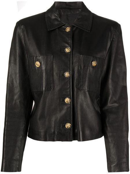 Черная кожаная куртка с воротником A.n.g.e.l.o. Vintage Cult