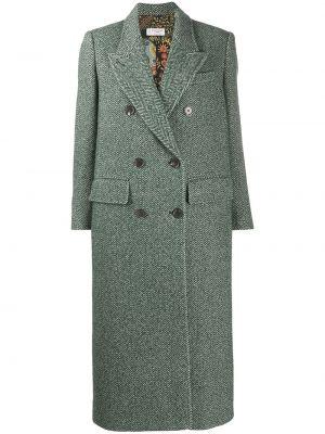 Зеленое шерстяное пальто классическое двубортное Alberto Biani