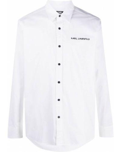 Biała klasyczna sukienka długa z długimi rękawami Karl Lagerfeld