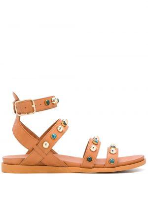 Brązowe sandały skorzane klamry Carvela