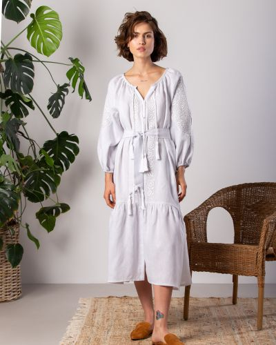 Этническое белое платье оверсайз Etnodim