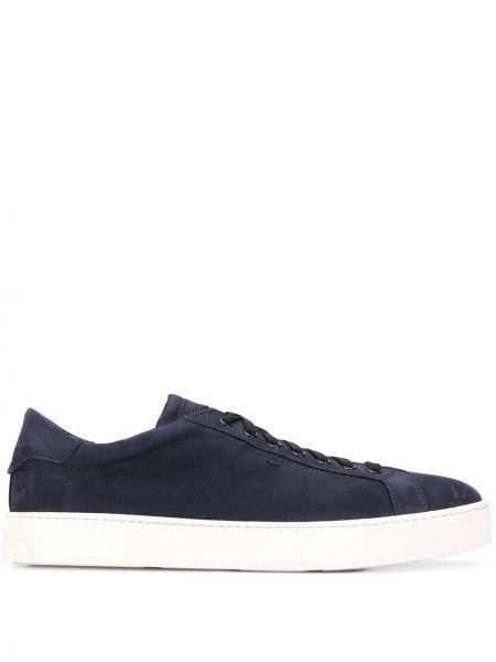 Niebieskie sneakersy skorzane sznurowane Santoni
