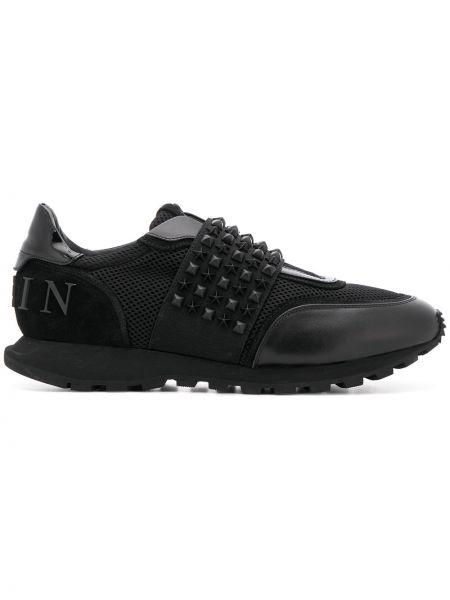 Czarne sneakersy skorzane z siateczką Philipp Plein