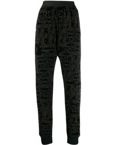 Спортивные брюки с завышенной талией черные Giambattista Valli